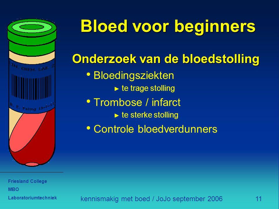 Friesland College MBO Laboratoriumtechniek 11kennismakig met boed / JoJo september 2006 Bloed voor beginners Onderzoek van de bloedstolling Bloedingsz