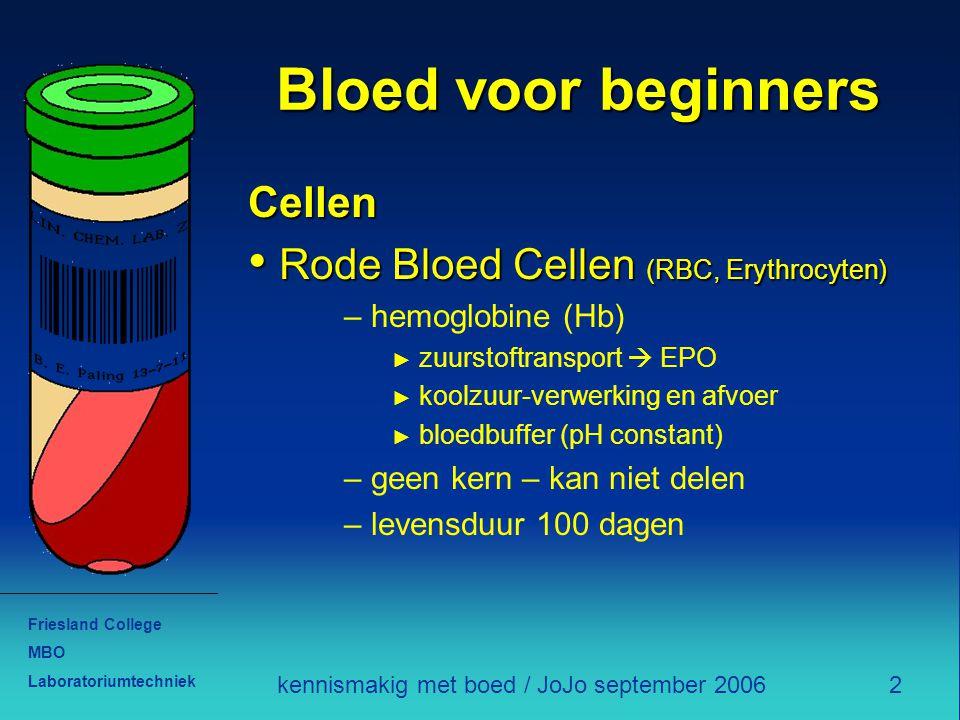 Friesland College MBO Laboratoriumtechniek 2kennismakig met boed / JoJo september 2006 Bloed voor beginners Cellen Rode Bloed Cellen (RBC, Erythrocyte