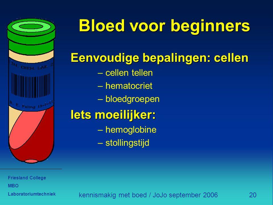 Friesland College MBO Laboratoriumtechniek 20kennismakig met boed / JoJo september 2006 Bloed voor beginners Eenvoudige bepalingen: cellen – cellen te