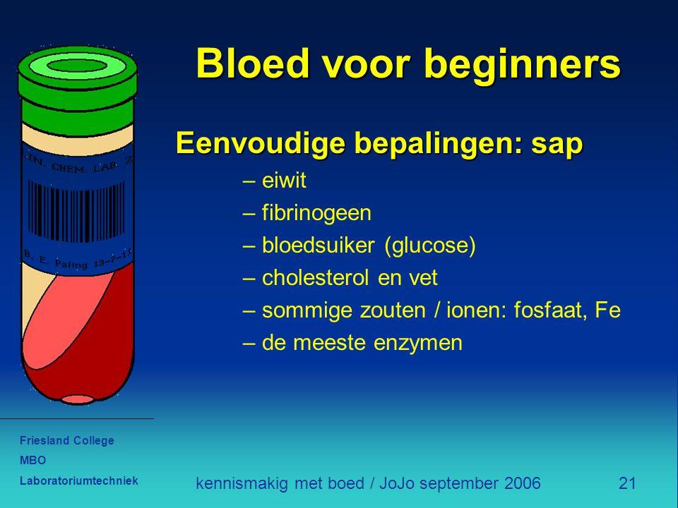 Friesland College MBO Laboratoriumtechniek 21kennismakig met boed / JoJo september 2006 Bloed voor beginners Eenvoudige bepalingen: sap – eiwit – fibr