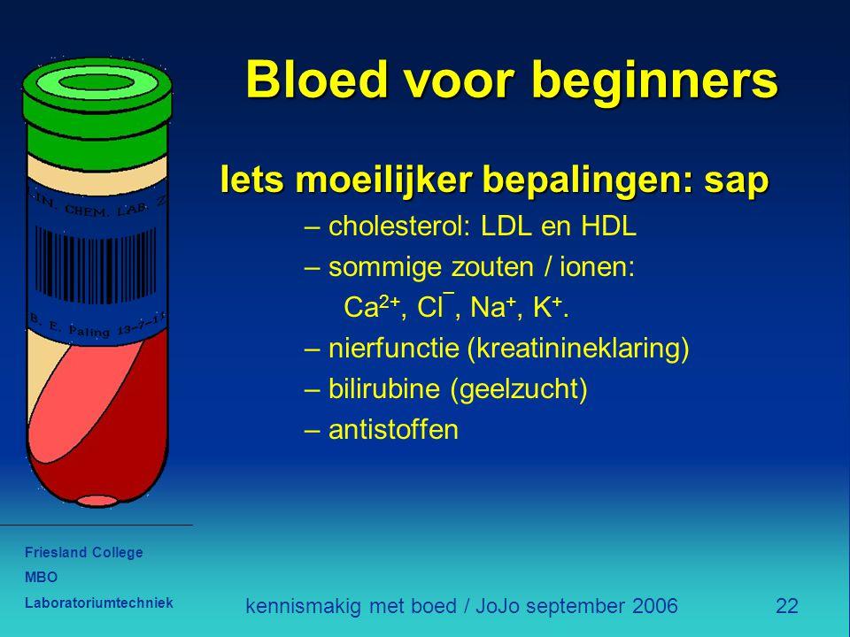 Friesland College MBO Laboratoriumtechniek 22kennismakig met boed / JoJo september 2006 Bloed voor beginners Iets moeilijker bepalingen: sap – cholest