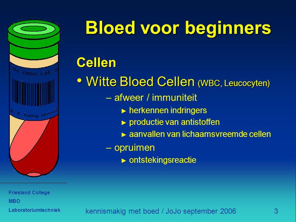 Friesland College MBO Laboratoriumtechniek 3kennismakig met boed / JoJo september 2006 Bloed voor beginners Cellen Witte Bloed Cellen (WBC, Leucocyten