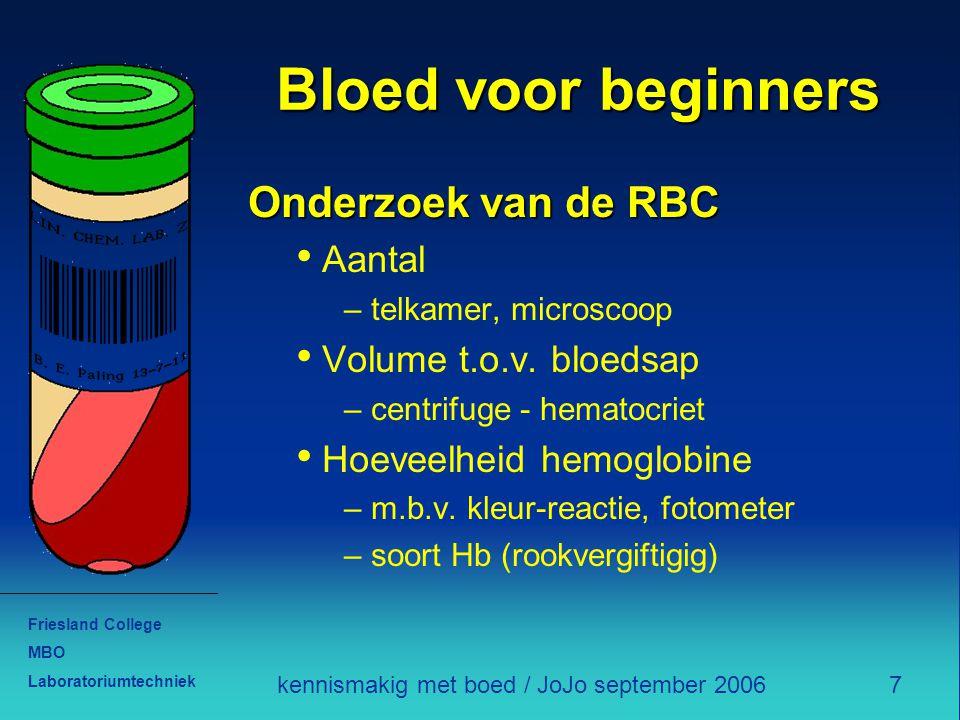 Friesland College MBO Laboratoriumtechniek 7kennismakig met boed / JoJo september 2006 Bloed voor beginners Onderzoek van de RBC Aantal – telkamer, microscoop Volume t.o.v.