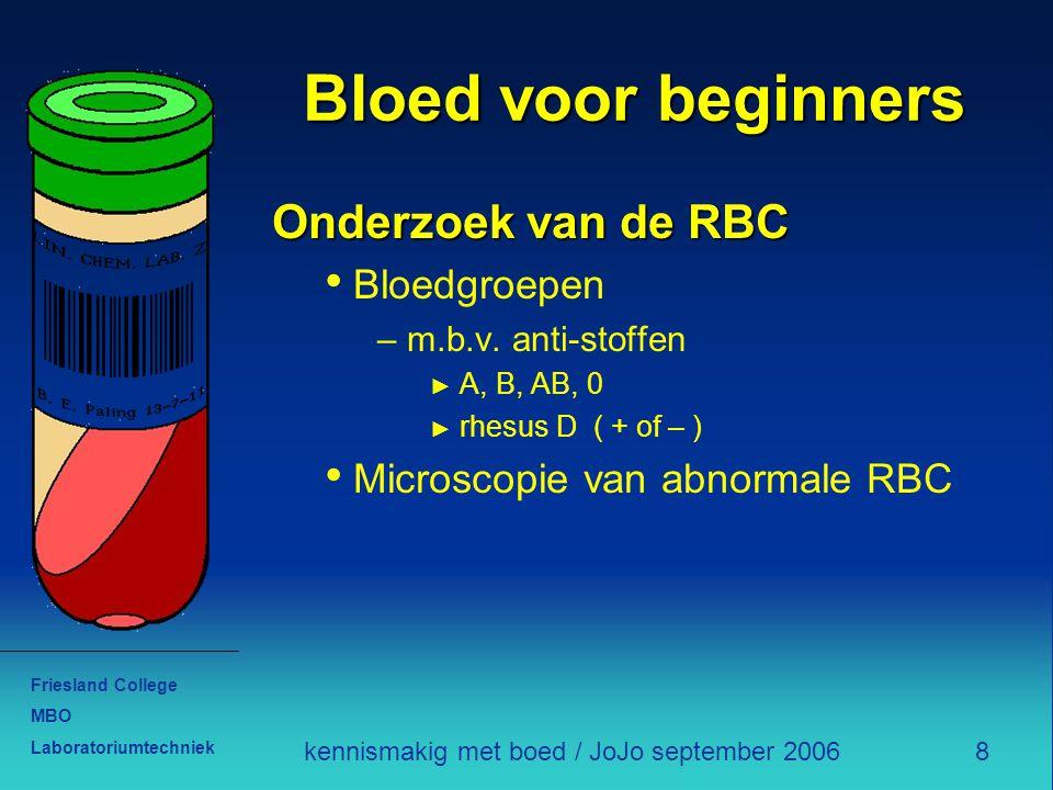 Friesland College MBO Laboratoriumtechniek 8kennismakig met boed / JoJo september 2006 Bloed voor beginners Onderzoek van de RBC Bloedgroepen – m.b.v.