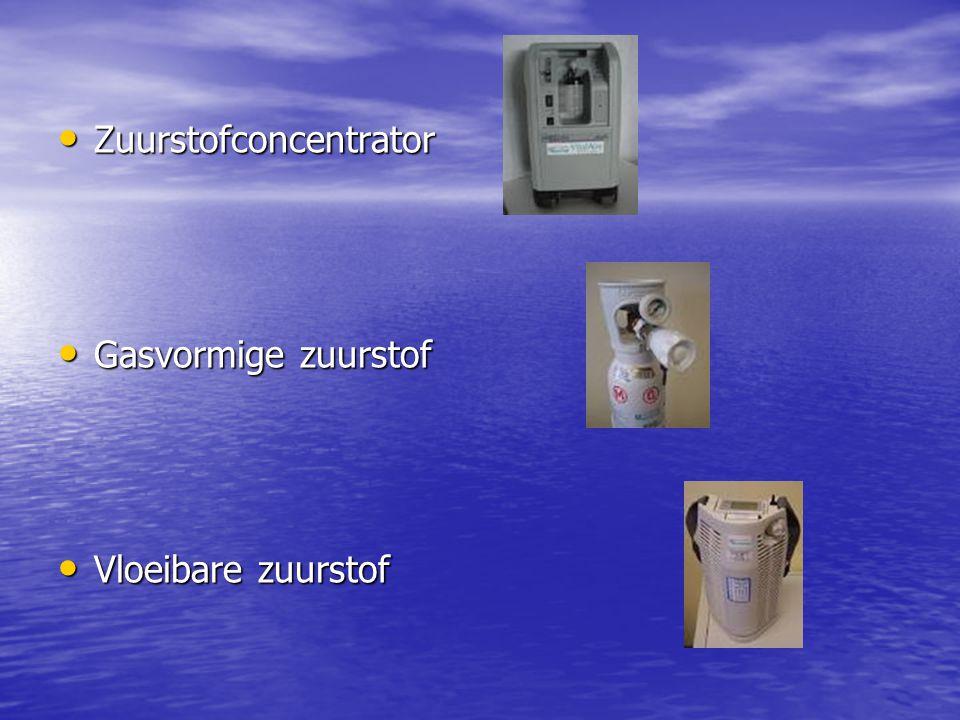 Zuurstofconcentrator Zuurstofconcentrator Gasvormige zuurstof Gasvormige zuurstof Vloeibare zuurstof Vloeibare zuurstof
