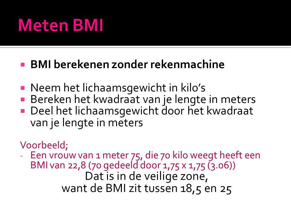  BMI berekenen zonder rekenmachine  Neem het lichaamsgewicht in kilo's  Bereken het kwadraat van je lengte in meters  Deel het lichaamsgewicht doo