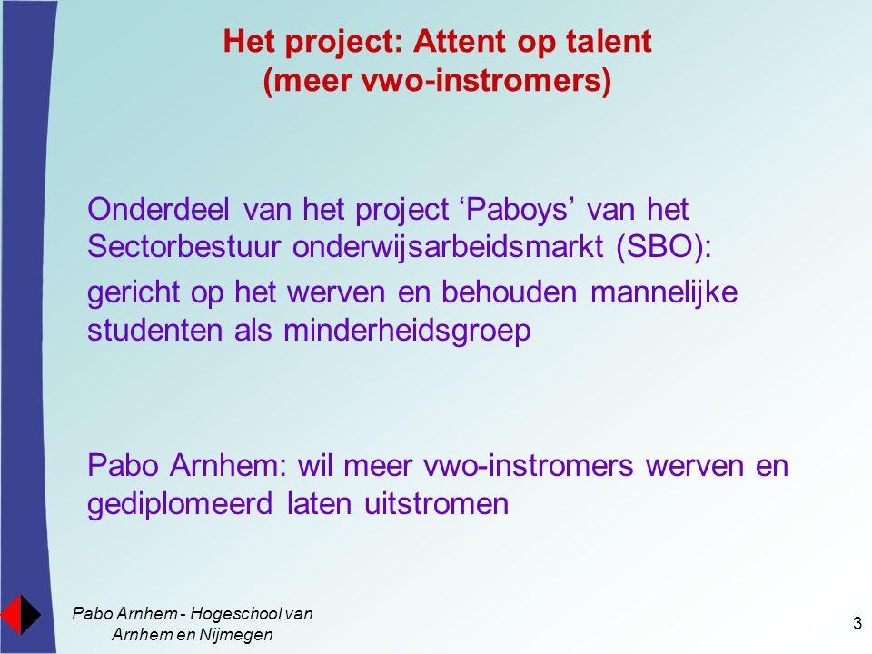 Pabo Arnhem - Hogeschool van Arnhem en Nijmegen 3 Het project: Attent op talent (meer vwo-instromers) Onderdeel van het project 'Paboys' van het Secto