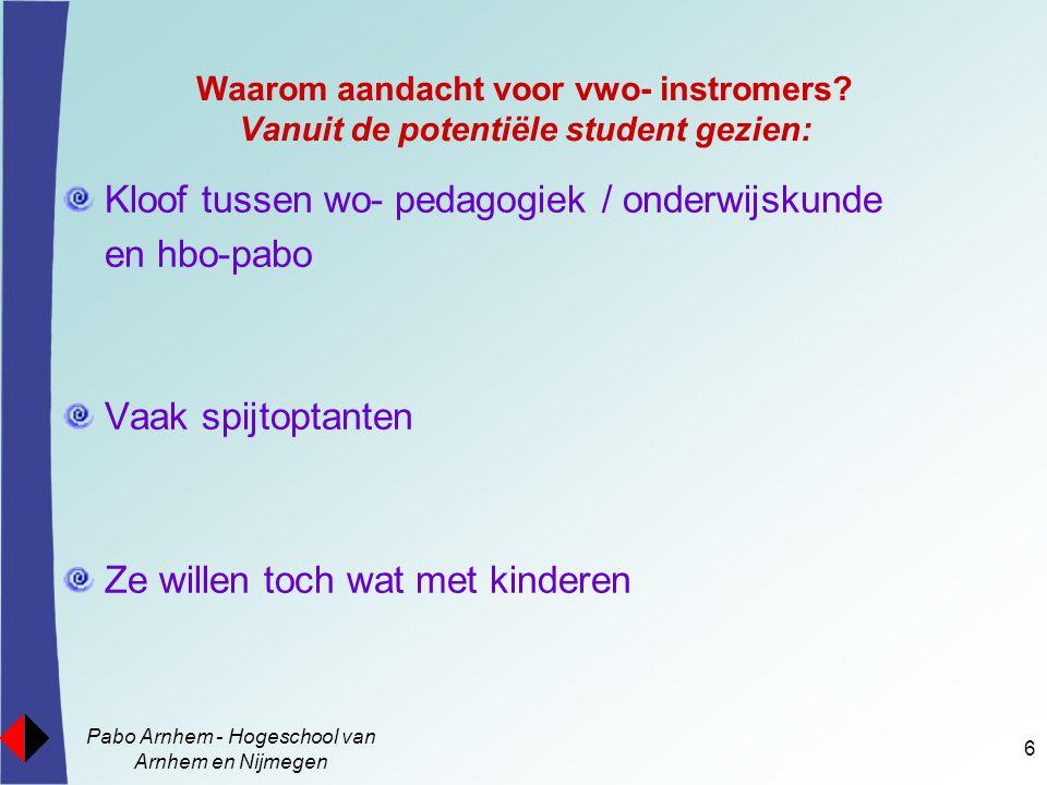Pabo Arnhem - Hogeschool van Arnhem en Nijmegen 6 Waarom aandacht voor vwo- instromers? Vanuit de potentiële student gezien: Kloof tussen wo- pedagogi
