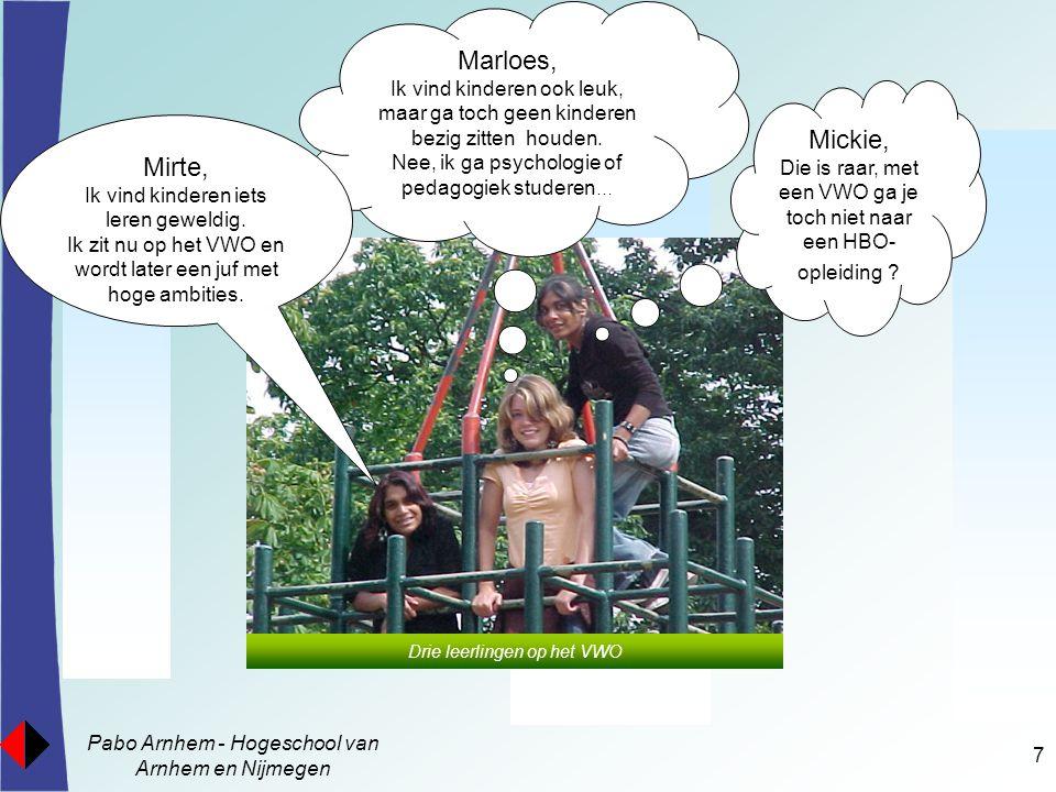 Pabo Arnhem - Hogeschool van Arnhem en Nijmegen 7 Mickie, Die is raar, met een VWO ga je toch niet naar een HBO- opleiding ? Marloes, Ik vind kinderen