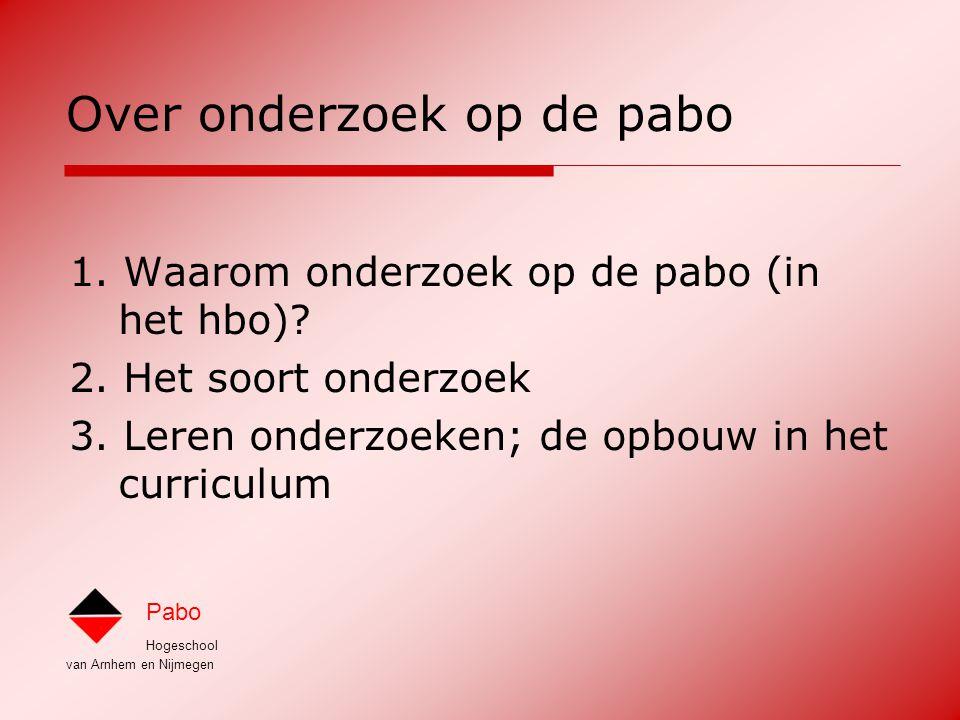 Hogeschool van Arnhem en Nijmegen Pabo 1.Waarom onderzoek op de pabo (in het hbo).