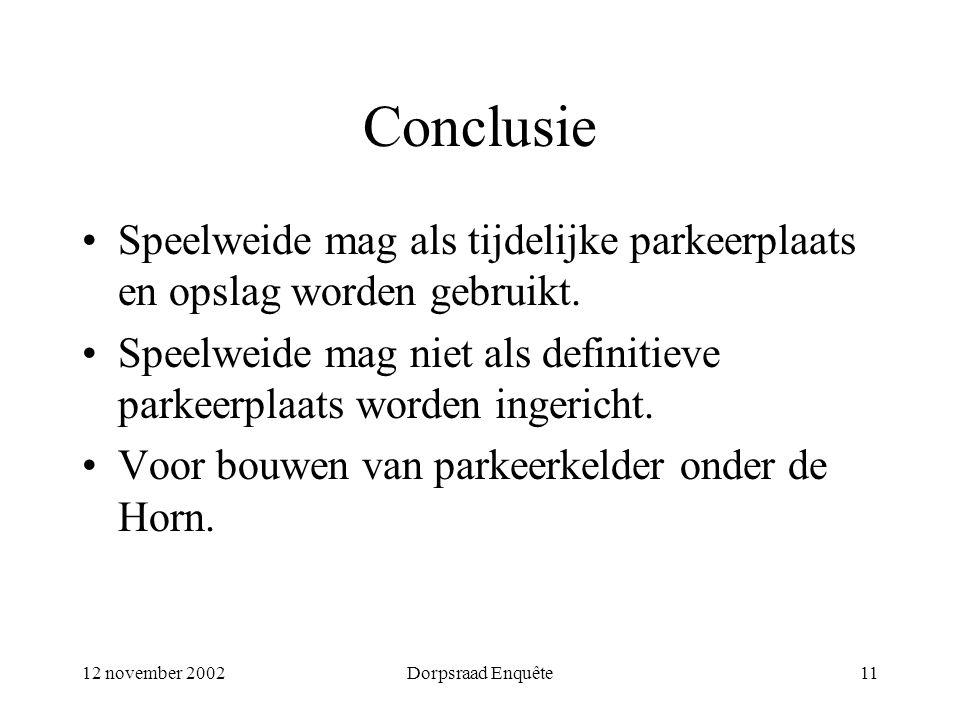 12 november 2002Dorpsraad Enquête11 Conclusie Speelweide mag als tijdelijke parkeerplaats en opslag worden gebruikt. Speelweide mag niet als definitie