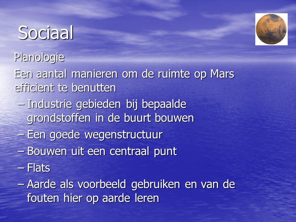 Sociaal Leven op Mars Leven op Mars Primaire levensbehoeften van een mens Primaire levensbehoeften van een mens –Water –Voedsel –Zuurstof –Goede tempe
