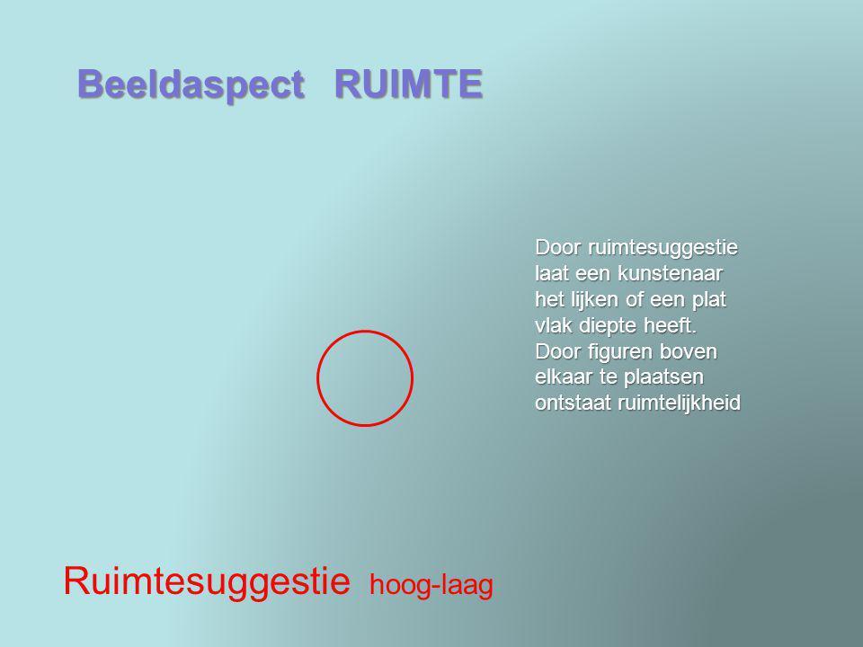 Beeldaspect RUIMTE Ruimtesuggestie hoog-laag Door ruimtesuggestie laat een kunstenaar het lijken of een plat vlak diepte heeft. Door figuren boven elk