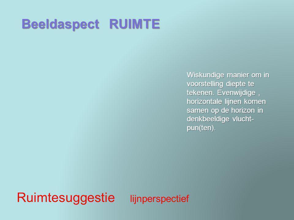 Beeldaspect RUIMTE Ruimtesuggestie lijnperspectief Wiskundige manier om in voorstelling diepte te tekenen. Evenwijdige, horizontale lijnen komen samen