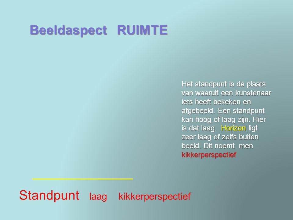 Beeldaspect RUIMTE Ruimtesuggestie plasticiteit Door ruimtesuggestie laat een kunstenaar het lijken of een plat vlak diepte heeft.