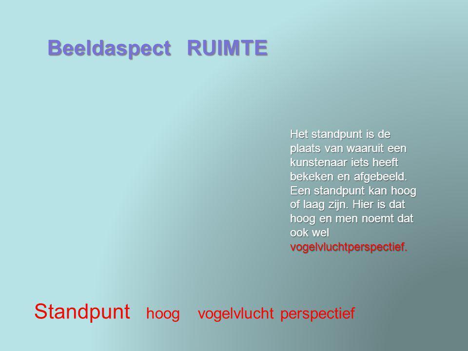 Beeldaspect RUIMTE Aanzicht vooraanzicht Een aanzicht is de kant van de ruimtelijke vorm die is afgebeeld op een kunstwerk.