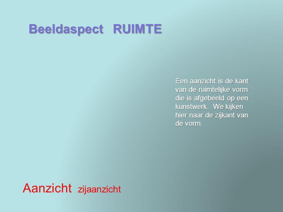 Beeldaspect RUIMTE Ruimtesuggestie lijnperspectief gevoelsperspectief Dit is een vorm van gevoelsperspectief.