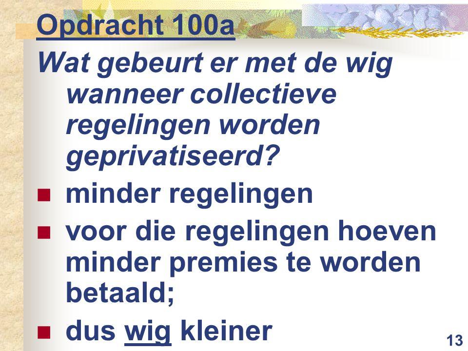 13 Opdracht 100a Wat gebeurt er met de wig wanneer collectieve regelingen worden geprivatiseerd.