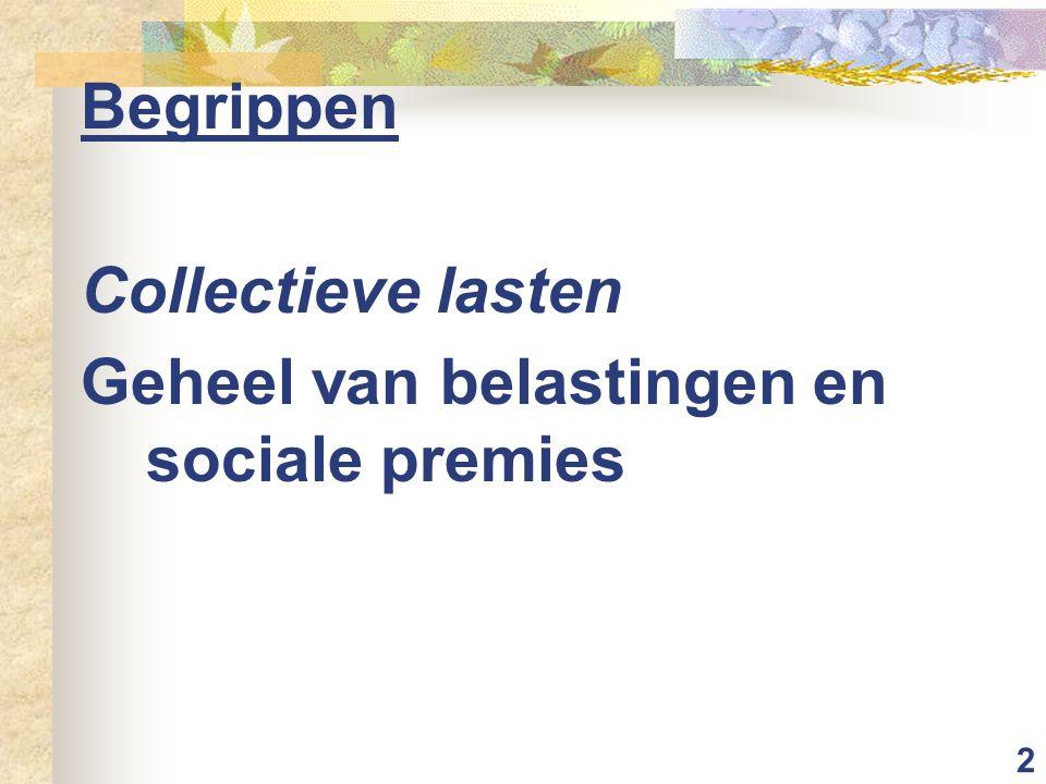 2 Begrippen Collectieve lasten Geheel van belastingen en sociale premies