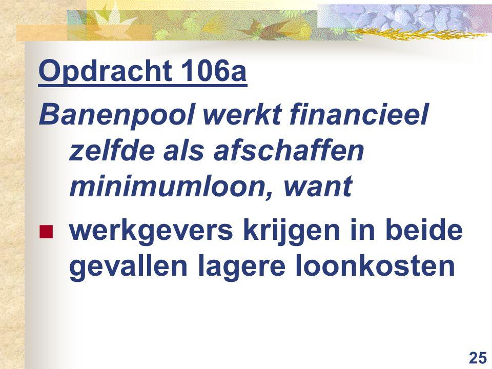 25 Opdracht 106a Banenpool werkt financieel zelfde als afschaffen minimumloon, want werkgevers krijgen in beide gevallen lagere loonkosten