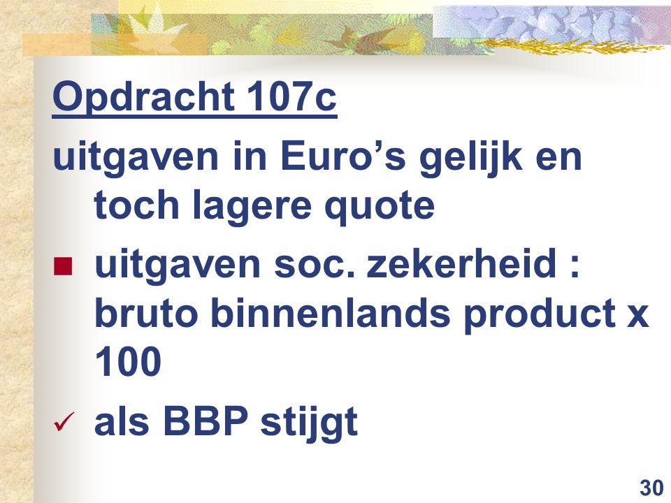 30 Opdracht 107c uitgaven in Euro's gelijk en toch lagere quote uitgaven soc.