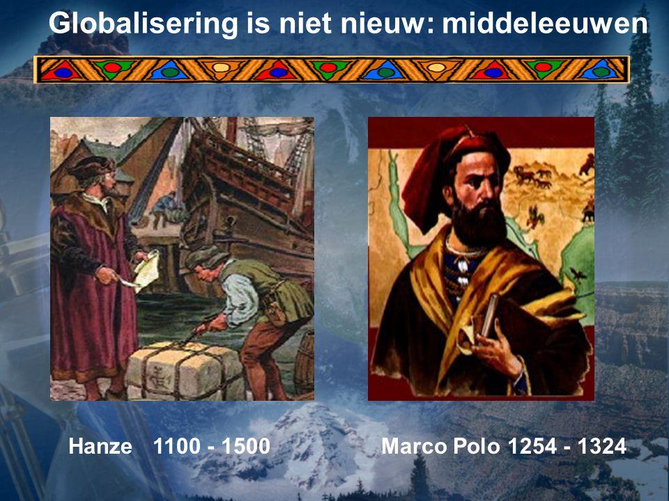 Globalisering is niet nieuw: middeleeuwen Hanze 1100 - 1500 Marco Polo 1254 - 1324