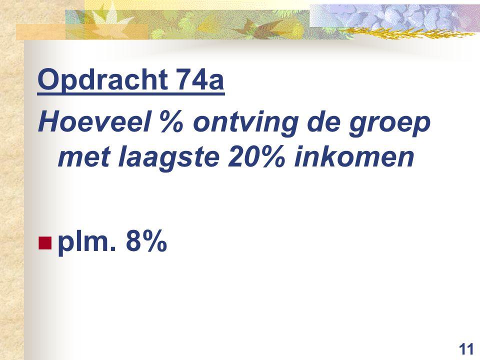 11 Opdracht 74a Hoeveel % ontving de groep met laagste 20% inkomen plm. 8%