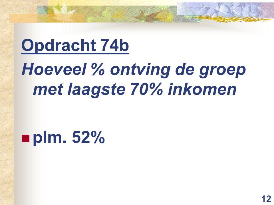 12 Opdracht 74b Hoeveel % ontving de groep met laagste 70% inkomen plm. 52%