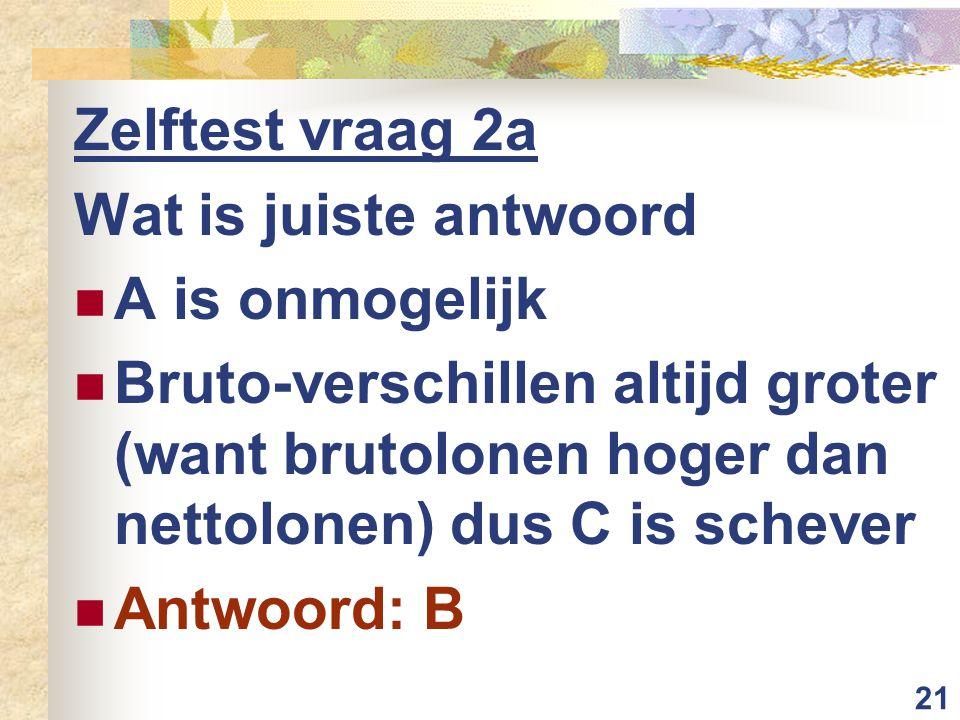 21 Zelftest vraag 2a Wat is juiste antwoord A is onmogelijk Bruto-verschillen altijd groter (want brutolonen hoger dan nettolonen) dus C is schever Antwoord: B