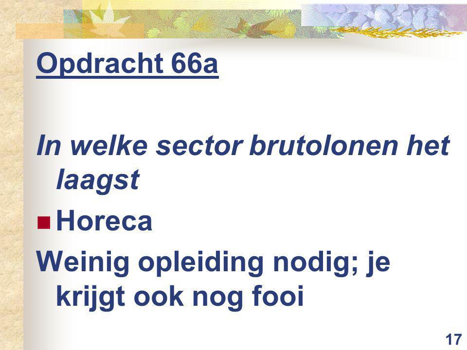 17 Opdracht 66a In welke sector brutolonen het laagst Horeca Weinig opleiding nodig; je krijgt ook nog fooi