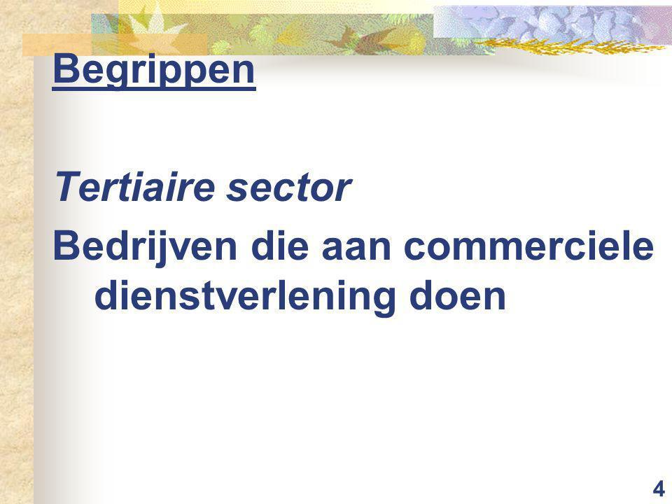 4 Begrippen Tertiaire sector Bedrijven die aan commerciele dienstverlening doen