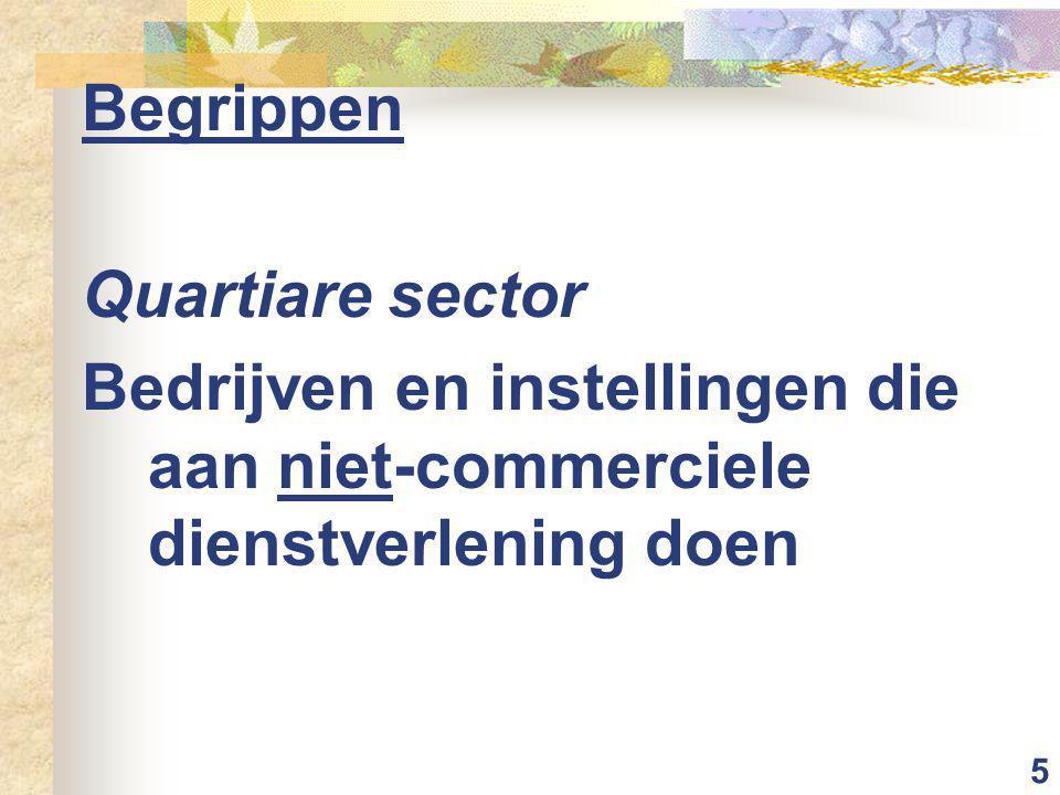 5 Begrippen Quartiare sector Bedrijven en instellingen die aan niet-commerciele dienstverlening doen