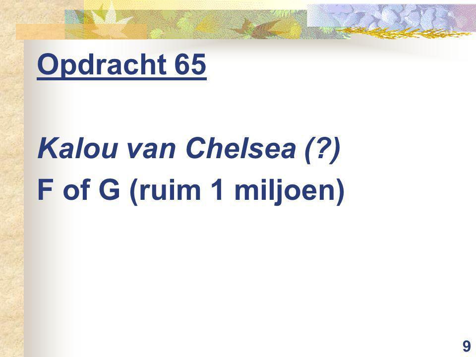 9 Opdracht 65 Kalou van Chelsea ( ) F of G (ruim 1 miljoen)