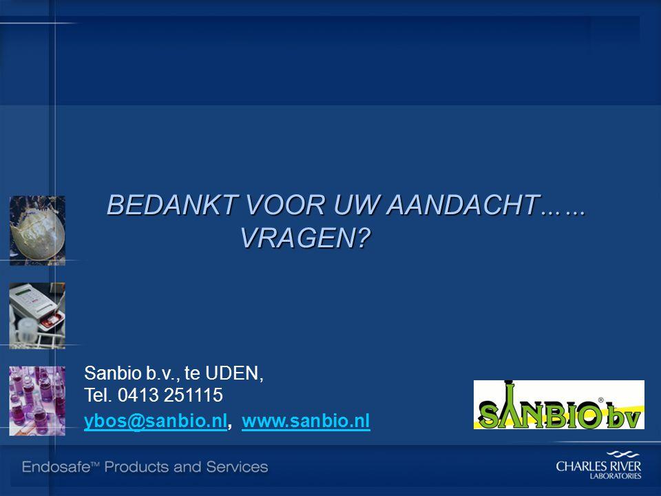 BEDANKT VOOR UW AANDACHT …… VRAGEN? Sanbio b.v., te UDEN, Tel. 0413 251115 ybos@sanbio.nlybos@sanbio.nl, www.sanbio.nlwww.sanbio.nl