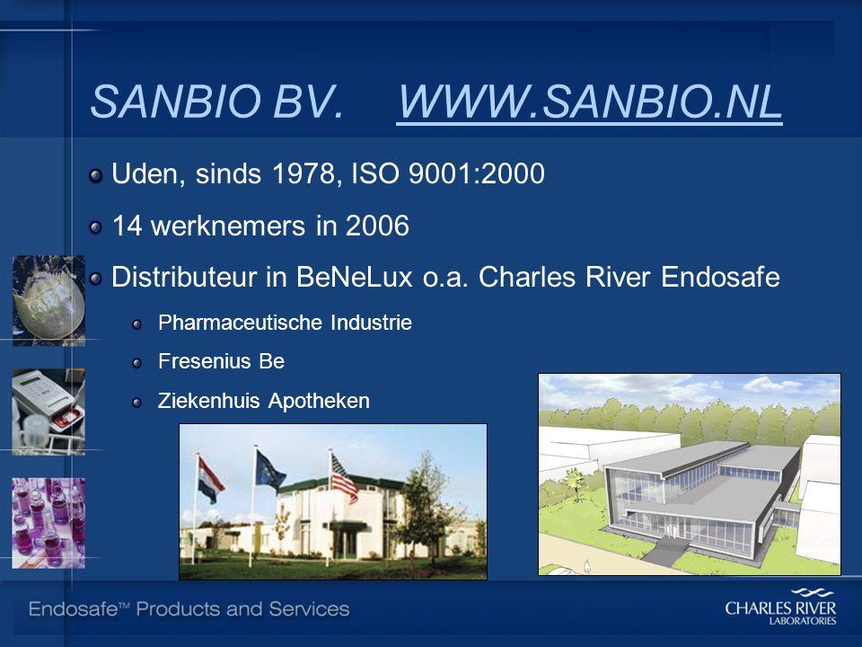SANBIO BV. WWW.SANBIO.NL Uden, sinds 1978, ISO 9001:2000 14 werknemers in 2006 Distributeur in BeNeLux o.a. Charles River Endosafe Pharmaceutische Ind