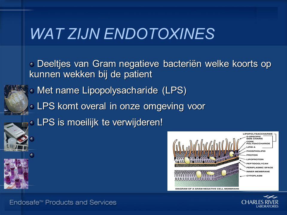 WAT ZIJN ENDOTOXINES Deeltjes van Gram negatieve bacteriën welke koorts op kunnen wekken bij de patient Deeltjes van Gram negatieve bacteriën welke koorts op kunnen wekken bij de patient Met name Lipopolysacharide (LPS) Met name Lipopolysacharide (LPS) LPS komt overal in onze omgeving voor LPS komt overal in onze omgeving voor LPS is moeilijk te verwijderen.