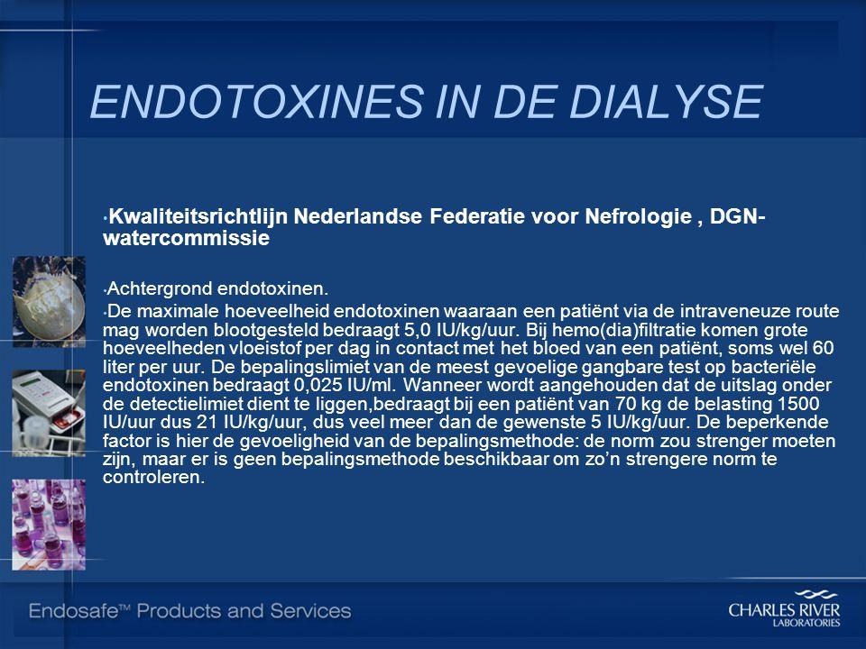 ENDOTOXINES IN DE DIALYSE Kwaliteitsrichtlijn Nederlandse Federatie voor Nefrologie, DGN- watercommissie Achtergrond endotoxinen.
