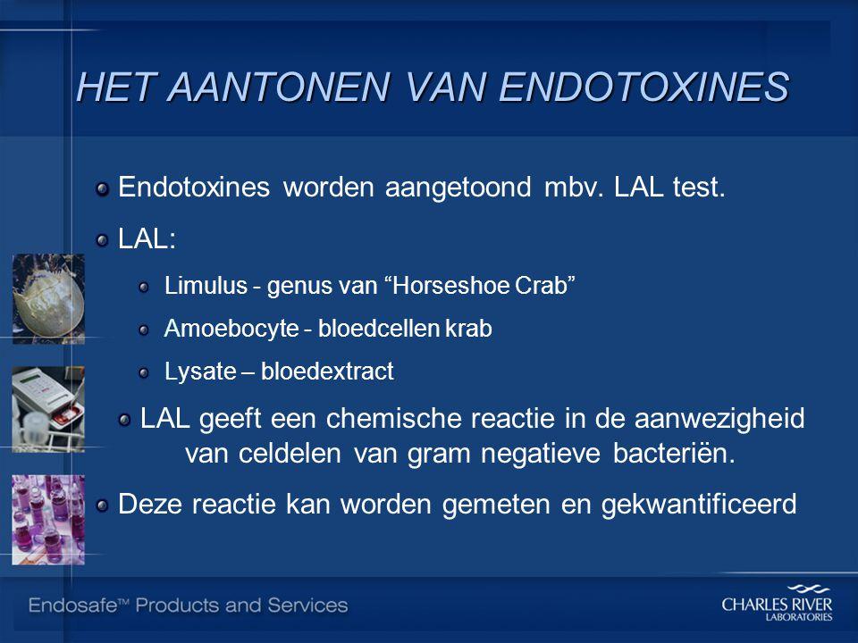 "HET AANTONEN VAN ENDOTOXINES Endotoxines worden aangetoond mbv. LAL test. LAL: Limulus - genus van ""Horseshoe Crab"" Amoebocyte - bloedcellen krab Lysa"