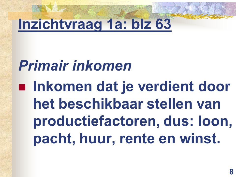 8 Inzichtvraag 1a: blz 63 Primair inkomen Inkomen dat je verdient door het beschikbaar stellen van productiefactoren, dus: loon, pacht, huur, rente en winst.