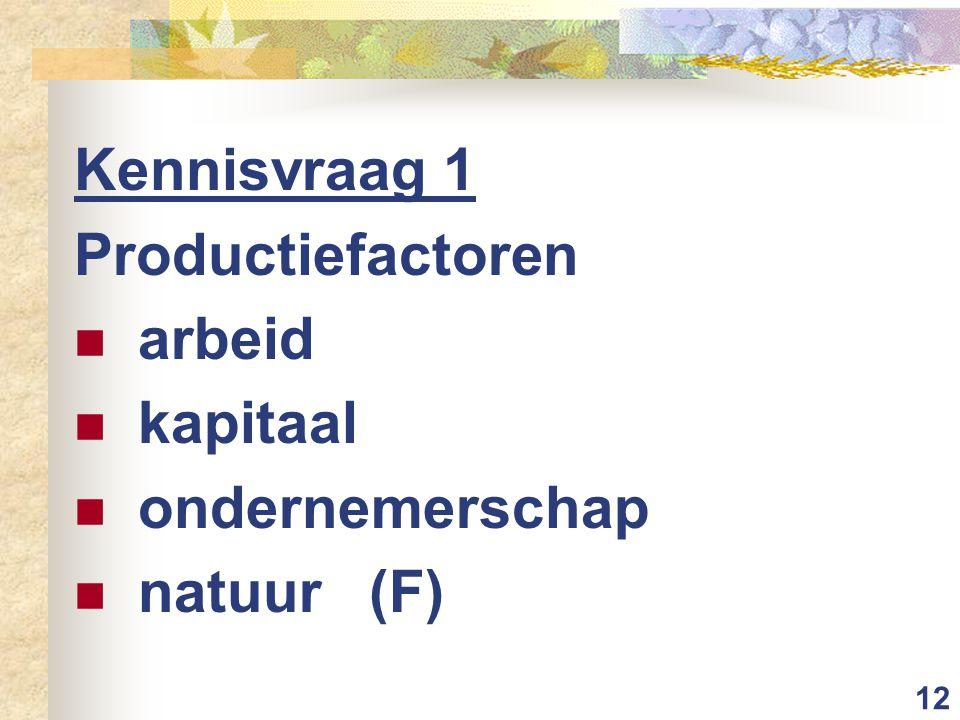 12 Kennisvraag 1 Productiefactoren arbeid kapitaal ondernemerschap natuur (F)