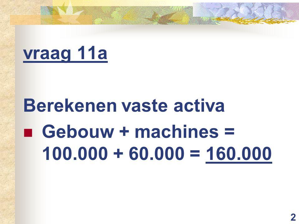 2 vraag 11a Berekenen vaste activa Gebouw + machines = 100.000 + 60.000 = 160.000