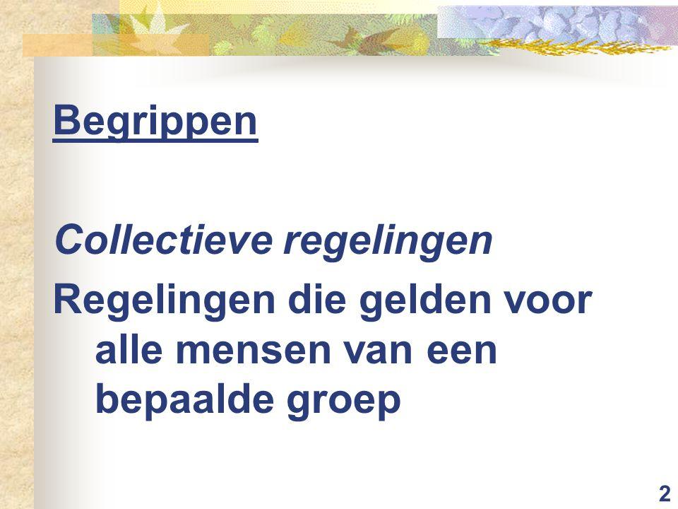 2 Begrippen Collectieve regelingen Regelingen die gelden voor alle mensen van een bepaalde groep