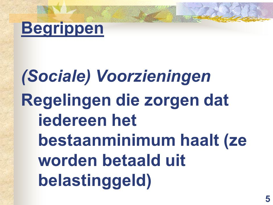 5 Begrippen (Sociale) Voorzieningen Regelingen die zorgen dat iedereen het bestaanminimum haalt (ze worden betaald uit belastinggeld)