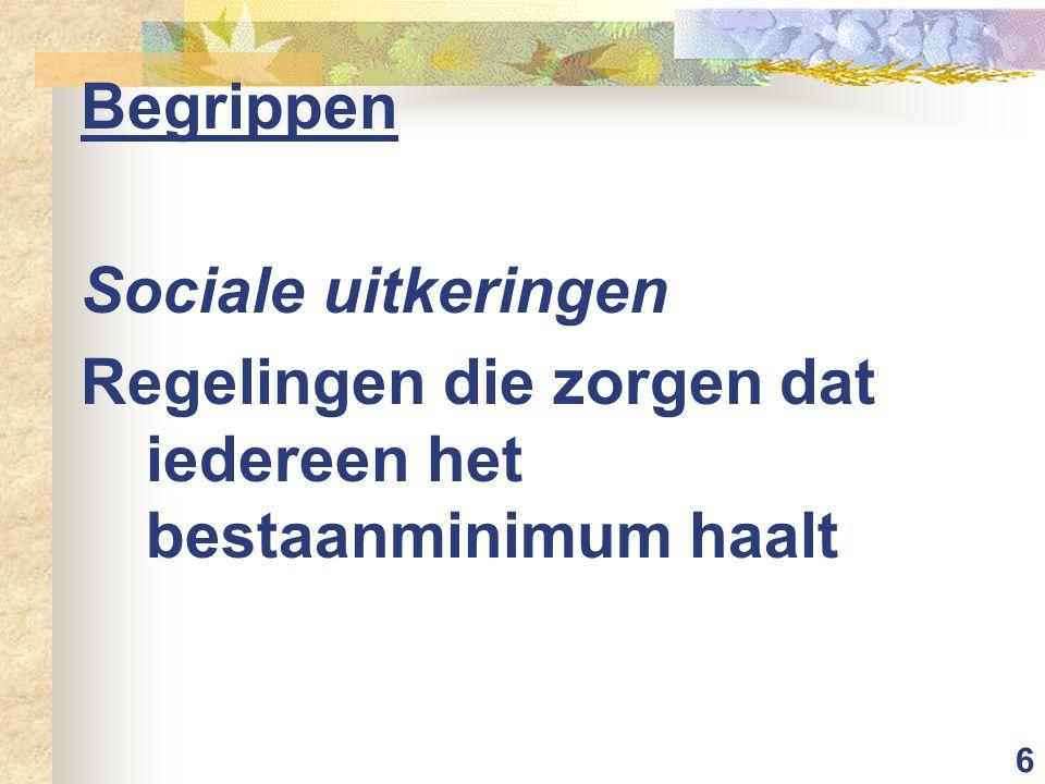 6 Begrippen Sociale uitkeringen Regelingen die zorgen dat iedereen het bestaanminimum haalt