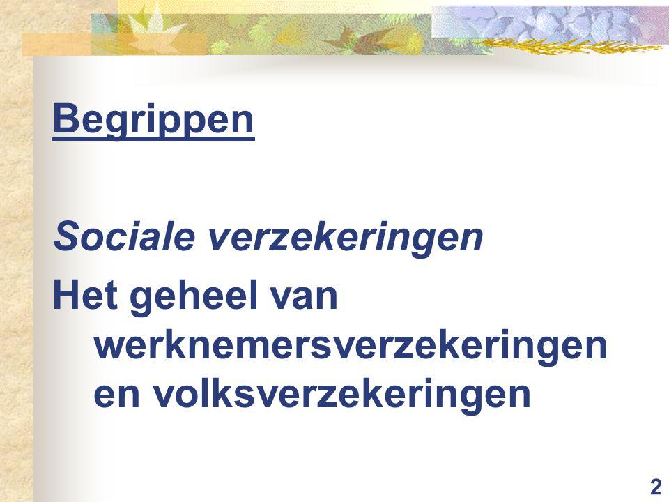 2 Begrippen Sociale verzekeringen Het geheel van werknemersverzekeringen en volksverzekeringen