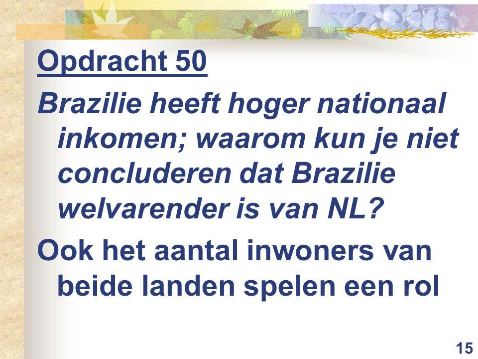 15 Opdracht 50 Brazilie heeft hoger nationaal inkomen; waarom kun je niet concluderen dat Brazilie welvarender is van NL.