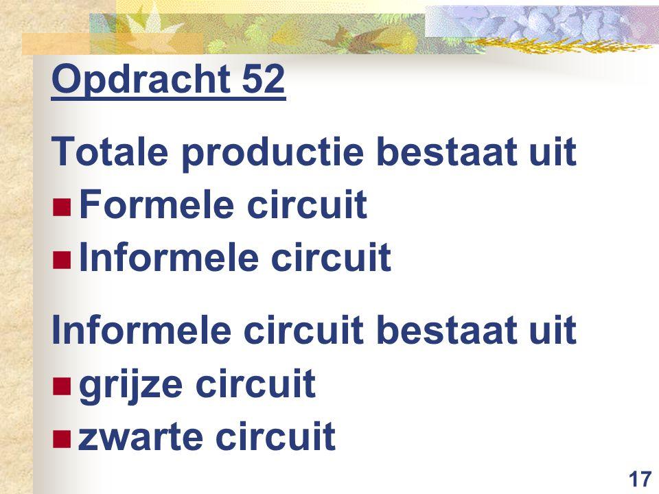 17 Opdracht 52 Totale productie bestaat uit Formele circuit Informele circuit Informele circuit bestaat uit grijze circuit zwarte circuit