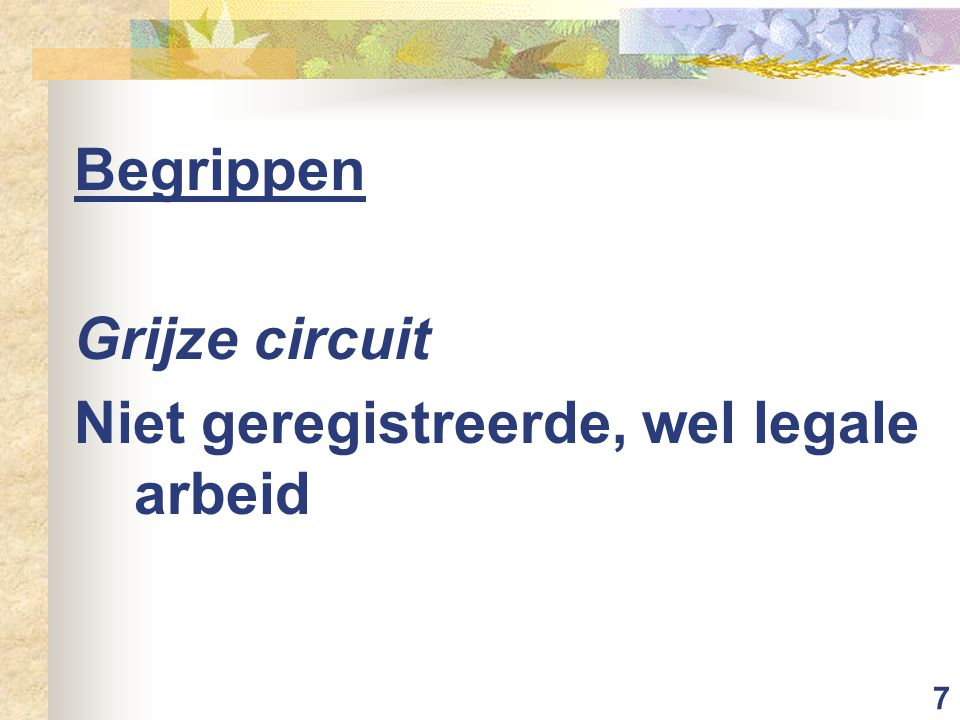 7 Begrippen Grijze circuit Niet geregistreerde, wel legale arbeid