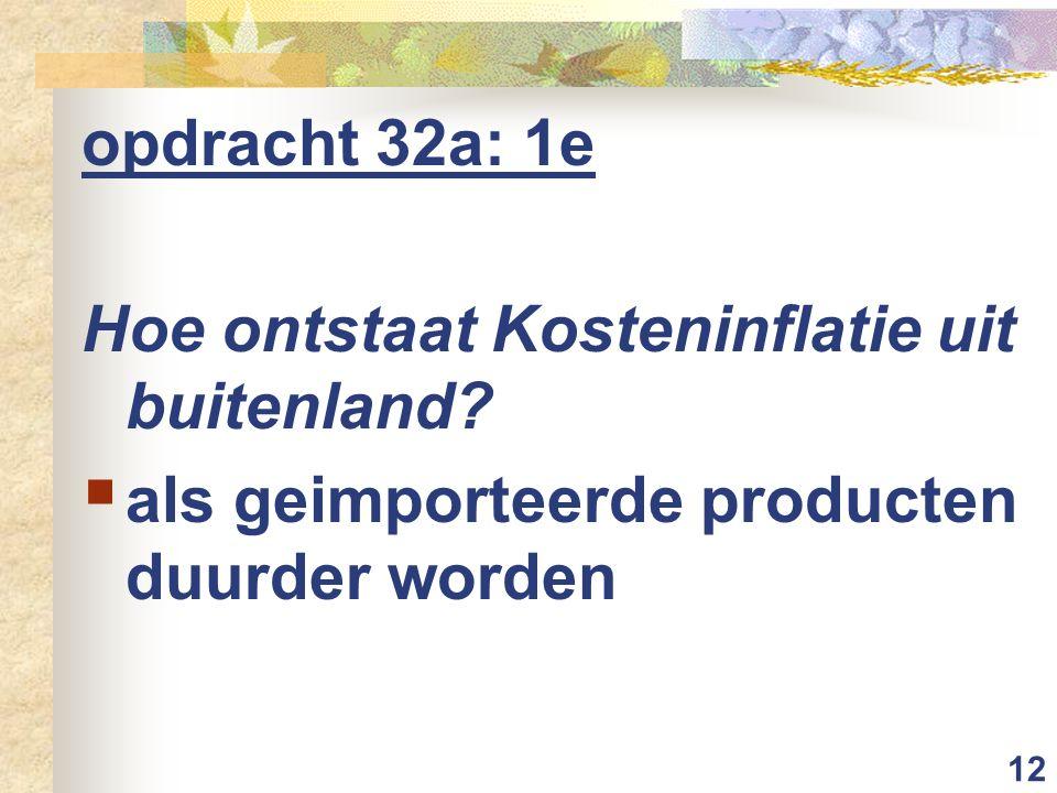12 opdracht 32a: 1e Hoe ontstaat Kosteninflatie uit buitenland?  als geimporteerde producten duurder worden