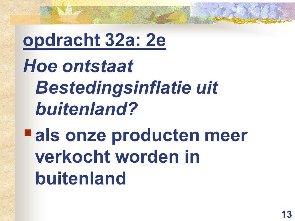 13 opdracht 32a: 2e Hoe ontstaat Bestedingsinflatie uit buitenland?  als onze producten meer verkocht worden in buitenland